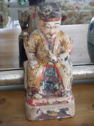 Ancestral Chinese Polychrome Wood Carving Figure Antique Chinese Carving