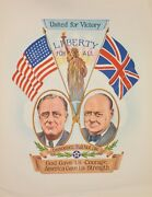 United For Victory, Original Second World War Poster, Churchill And Roosevelt