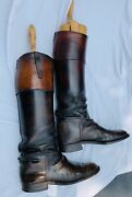 Antique Leather Tall Fox Hunt Riding Boots Horse Collectible Equestrian Decor