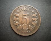 Norway Bronze 5 Ore 1875 Low Mintage / Sniff's Ancient Coins T-4