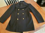 Vtg 1978 Us Navy Usn 100 Wool Double Breasted Overcoat Peacoat 40l Gold Buttons