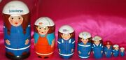 9 Pc Set Nesting Dolls 10 Collectables Rare Find Schlumberger Oil Co. Russian