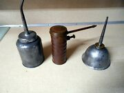 Vtg Antique Lot Of 3 Early Eagle Oil Can Oilers Pump Thumb Press And Finger Pump