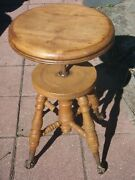 Antique H. Holtzman Adjustable Oak W/glass Clawfoot Piano Stool1890and039s-1900and039s