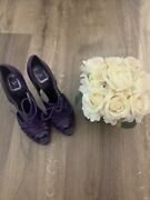 Authentic Christian Dior Purple Patent Leather 5 Inch Heels Euro 39