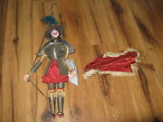 Antique Sicilian Knight Soldier Marionette Puppet With Sword Shield Wood Italian