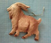 German Dresden Victorian Mountain Goat Embossed Cardboard Xmas Ornament 1930