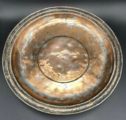 Vintage Heavy Hammered Tinned Copper Bowl Tray Catchall Middle Eastern Style
