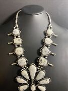 Navajo Sterling Silver White Buffalo Turquoise Squash Blossom Necklace.