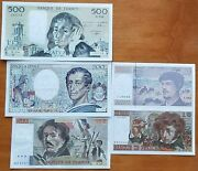 France Lot Of 5 Banknotes Very Rare Nice Unc Condition Pre Euro Banknotes