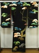 Pure Silk Antique Furisode With 3 Crests Luxury Embroidery 160 Cm Tall Excellent
