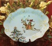 Williams Sonoma Twas The Night Before Christmas Scalloped Oval Reindeer Platter