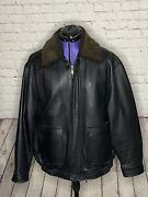 Jos A Bank Black Leather Bomber Jacket Size Large Removable Lamb Collars And Liner