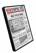 Solid Wood Newspaper Frame - Matte Black Finish - Matches Any Decor - Size 11...