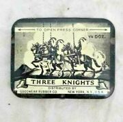 Original Vintage Old Antique Iron The Knights Tin Condom Box Made In U.s.a