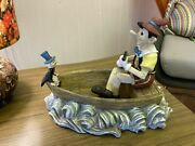 Extremely Rare Walt Disney Pinocchio And Jiminy Cricket In Boat Figurine Statue