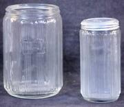 Two Antique Hoosier Ribbed Clear Glass Tea And Spice Containers