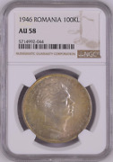 1946 Romania 100kl Ngc Au 58 Witter Coin