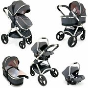 Luxury Baby Travel Stroller Buggy 3in1 Pram System Carseat Pushchair Cookie New
