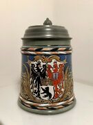 Mettlach Stein 2024 0.5l, Etched And Glazed, City Of Berlin, Inlaid Lid, Mint