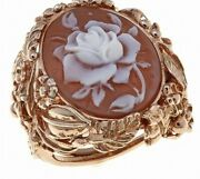 Nwt Hsn Beauty And The Beast Amedeo Ss Rose Genuine Carved Cameo Ring 7