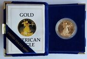 1986-w Proof 1 Oz American Gold Eagle 50 Coin,box And Certificate Of Authenticity