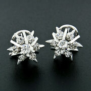 Vintage 18k Gold 1.56ct Old Transitional Diamond Snowflake Star Cluster Earrings