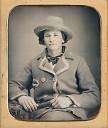 Handsome Man Unusual Double Breasted Jacket + Hat 1/6 Plate Daguerreotype G517