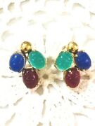 14k Scarab Earrings Antique Hand Carved With Posts Emerald Sapphire Ruby Earring