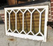 Mid Century Stained Glass Window Amber 36andrdquox24andrdquo 16 Panel Wood Frame Beauty Rare
