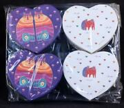 Four 4 Laurel Burch Heart Shaped Cat And Hearts Trinket Boxes 4in.x3.5in.x1.5in