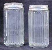 Two 2 Antique Hoosier Ribbed Clear Glass 4 Inch Tall Spice Containers