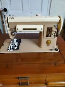 1956 Singer 301a Short Bed Sewing Machine W/pedal Knee Bar Buttonholer In Table