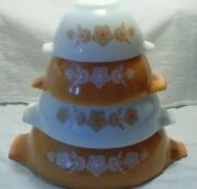 Vintage 1972-81 Pyrex Butterfly Gold Cinderella Nesting Mixing Bowl Set Of 4