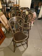 5 Antique Black Stenciled 19th C Hoop Back Plank Seat Windsor Chairs + Cushions
