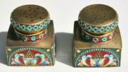 Russian Silver And Enamel Salt And Pepper Shakers Marked Mc