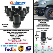 24pc Chevrolet Oem Factory 14x1.5 Black Wheel Lug Nut Conical Seat For Chevrolet