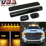 3x Smoked Amber Led Roof Top Cab Running Lights For Gmc Sierra 1500 2500 3500