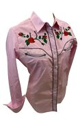 Womenand039s Rodeo Western Pink Red Rose Stitch Long Sleeve Snap Up Shirt Cowboy 504