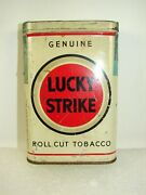 Vintage 1940and039s Lucky Strike Roll Cut Tabacco Pocket Tin Litho White Empty