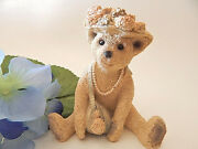 Stone Critters Bear Figurine Old Fashioned Hat And Pearls Female Vtg 1991 Udc