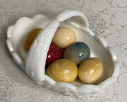Vintage Alabaster/marble Colored Eggs Lot Of 6 Easter 1-1/2 Eggs With Basket