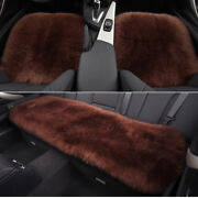 Coffee Car Chair Sheepskin Wool Seat Covers Cusion Pad Front+rear Covers