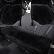 Black Car Chair Sheepskin Wool Seat Covers Cusion Pad Front+rear Covers