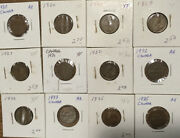 Canada 1c 1 Cent 50 Coins George V 1920...1935 All Xf Ef Or Better 7 Diff Dates