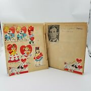 1960 Young Girland039s Scrapbook Vintage Valentineand039s Cards Handwriting News Clippings