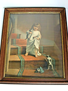 Antique Paper Litho Print Little Girl Holding Her Cat And Toy Ark Dog On Stairs