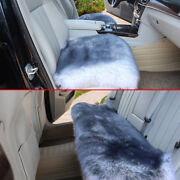 White+grey Car Chair Sheepskin Wool Seat Covers Cusion Pad Front+rear
