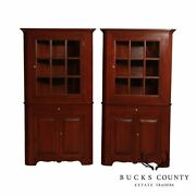 Custom Quality Pair Solid Cherry Corner Cabinets By Seely