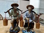 Chinese Ceramic Farmers Couple Figurines